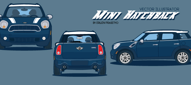 Mini hatchback vector illustrator