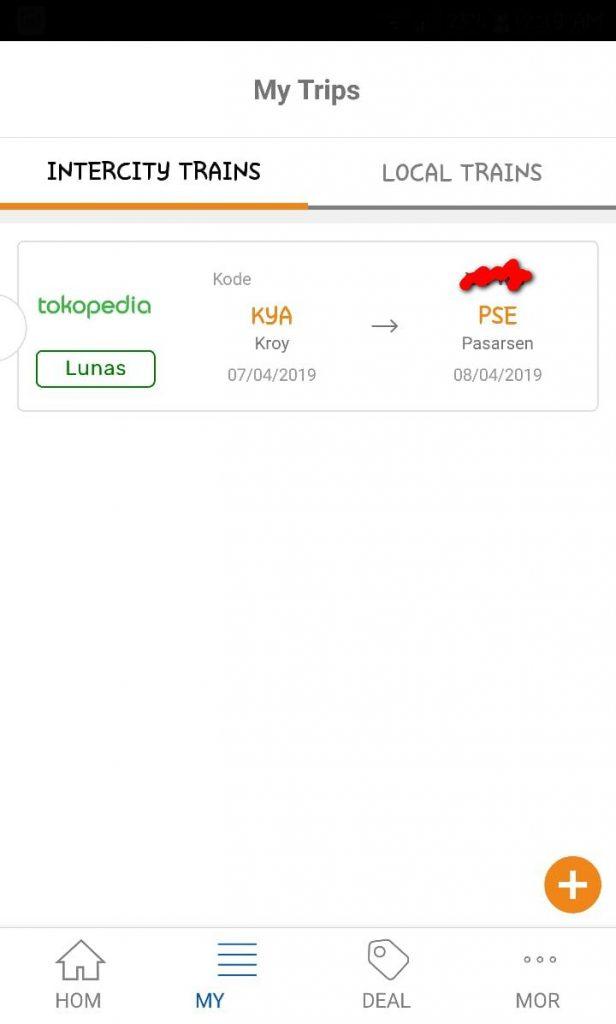 Pembatalan tiket KA melalui aplikasi KAI Access